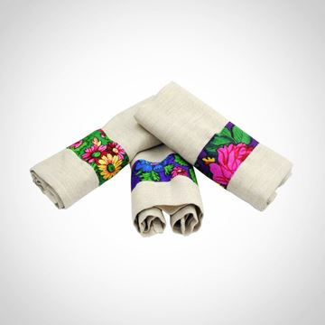Picture of Set of 3 linen napkins with printed floral 'Baboushka' fabric
