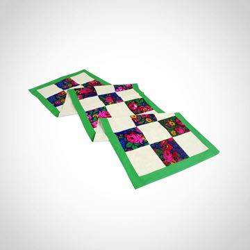 Picture of Linen and floral 'Baboushka' fabric patchwork table runner