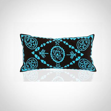 Picture of Oval earring design cushion (brown with blue) Size: 48x24cm