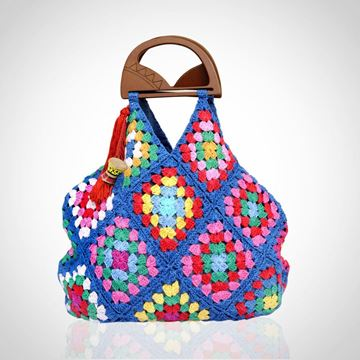 Picture of Crochet & jeans double face bag with wood hand in blue
