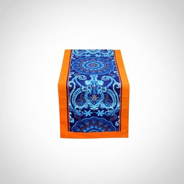 Picture of Blue table runner with orange frame