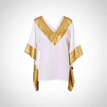 Picture of White summer top with gold paillettes