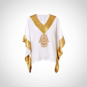 Picture of White summer top with gold paillettes and Kaf Fatma