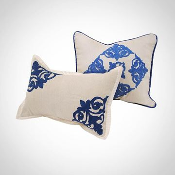 Picture of Off-white square cushion with blue islamic design