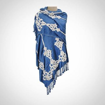 Picture of  Blue shawl with beaded edges (80 cm)