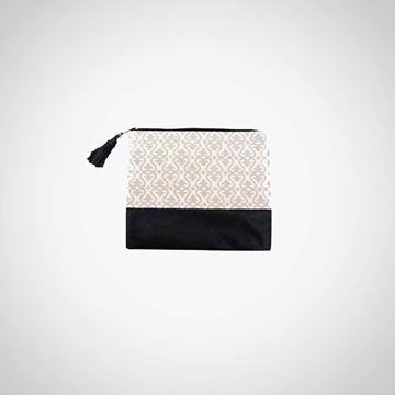 Picture of Black clutch with silver  Islamic design