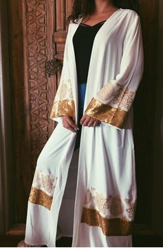 Picture of Off-white Kaftan with gold paillettes and Islamic design