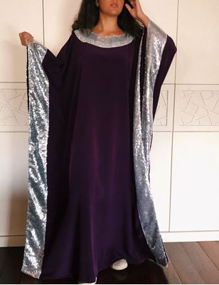 Picture of Purple abaya with sparkling beads on collar and on sleeves