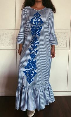 Picture of Blue striped dress with Islamic embroidery design