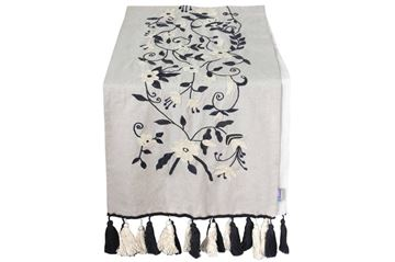 Picture of Blossoming table runner with grey and white embroidery.