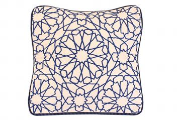 Picture of Arabe design cushion square shaped in white. Size: 41x41cm